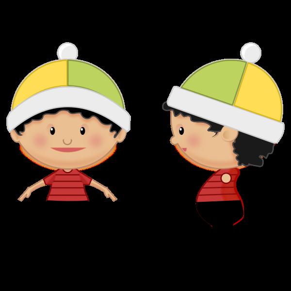 Cartoon girl with hat vector clip art