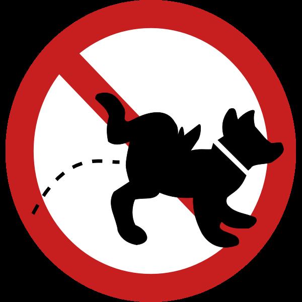 No dog pee sign