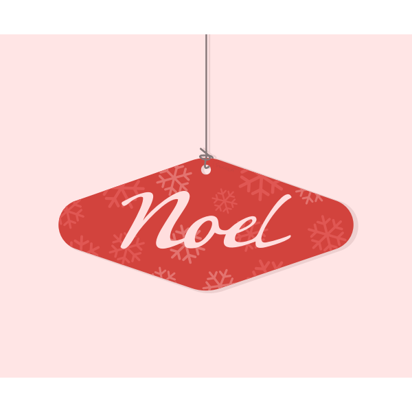 Noel Christmas square ornament vector drawing