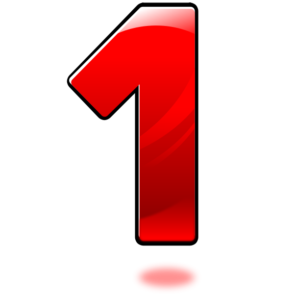 Vector clip art of glossy number one