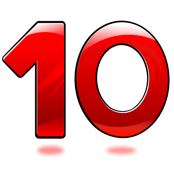 Vector image of glossy number ten