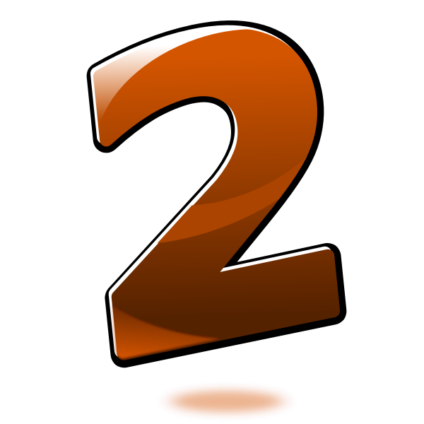 Vector graphics of glossy number two