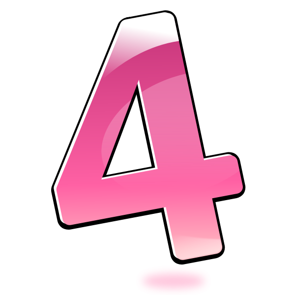 Vector illustration of glossy number four