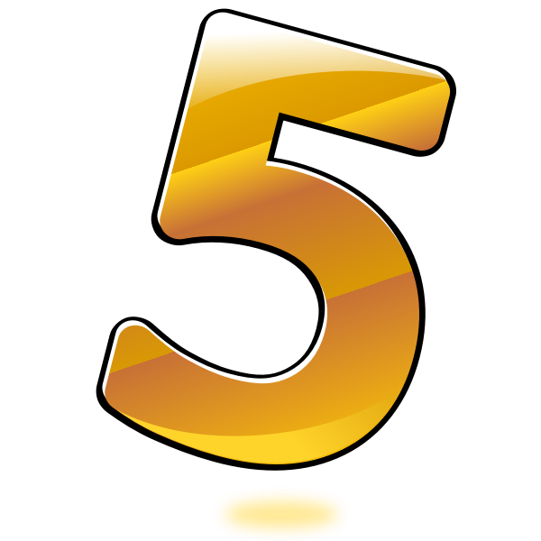 Vector image of glossy number five