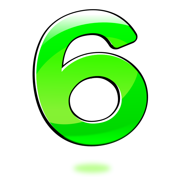 Vector clip art of glossy number six