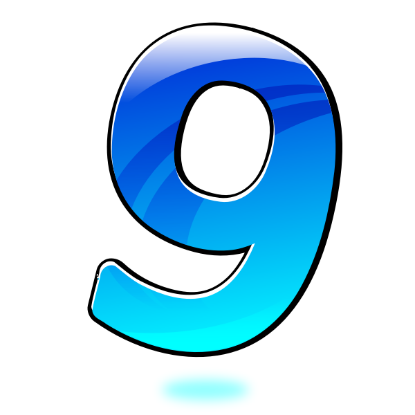 Vector illustration of glossy number nine