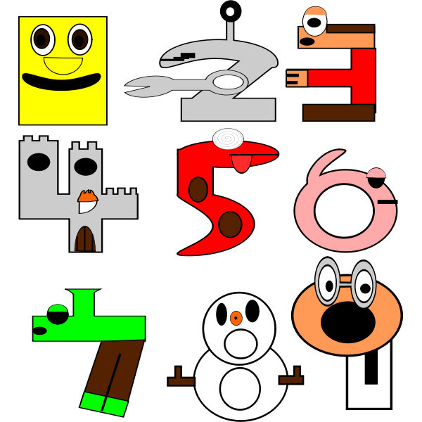 Clip art of cartoon animal number from 1 to 9