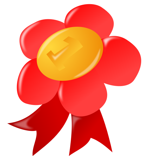 Vector image of red and yellow flower ribbon