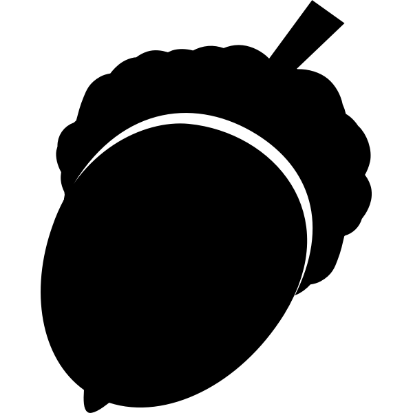 Silhouette vector image of oak nut