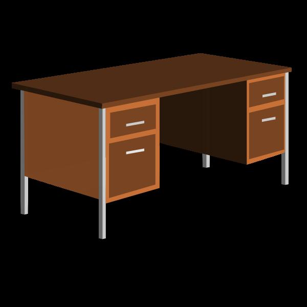 An office desk vector drawing