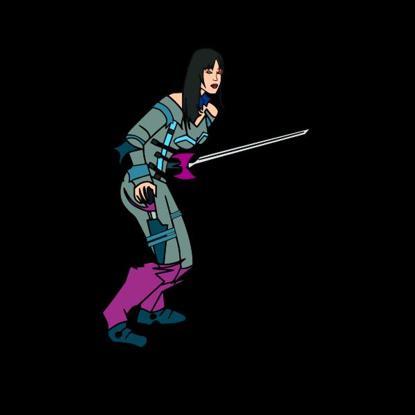 Cartoon vector image of fencer