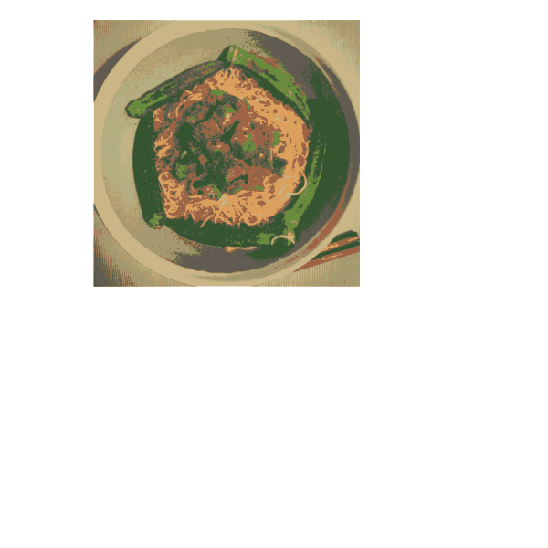 okra shrimp noodle