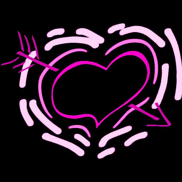 Heart and arrow vector graphics