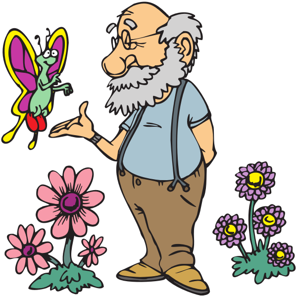 Old man with butterfly