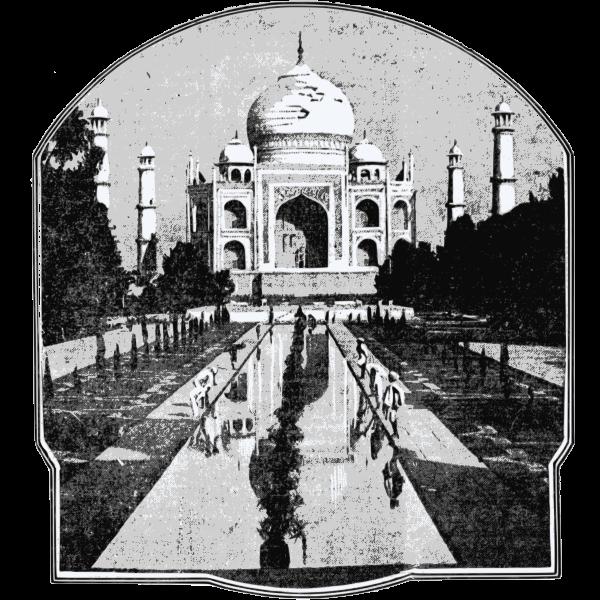 Vector clip art of old picture of Taj Mahal