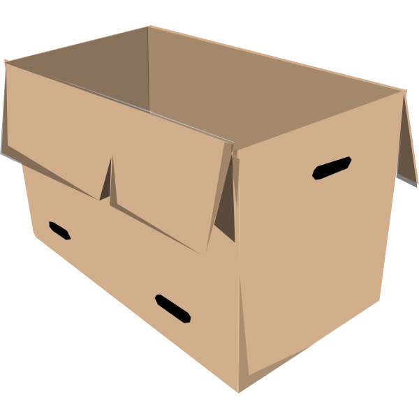 Clip art of open recyclable cardboard box