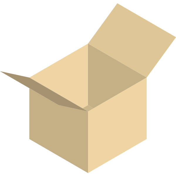 Vector image of yellow packaging box wide open