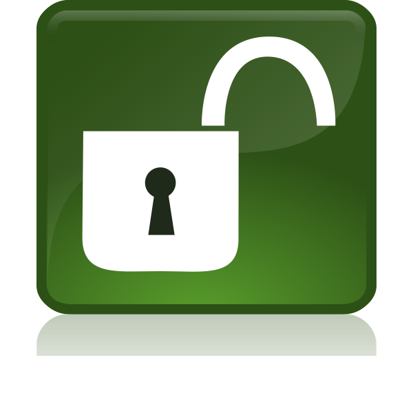 Opened lock in green button vector graphics