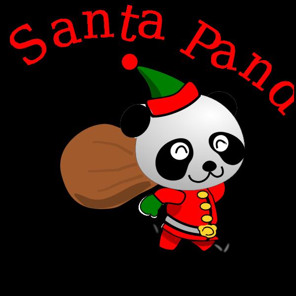 Running Santa Panda vector image