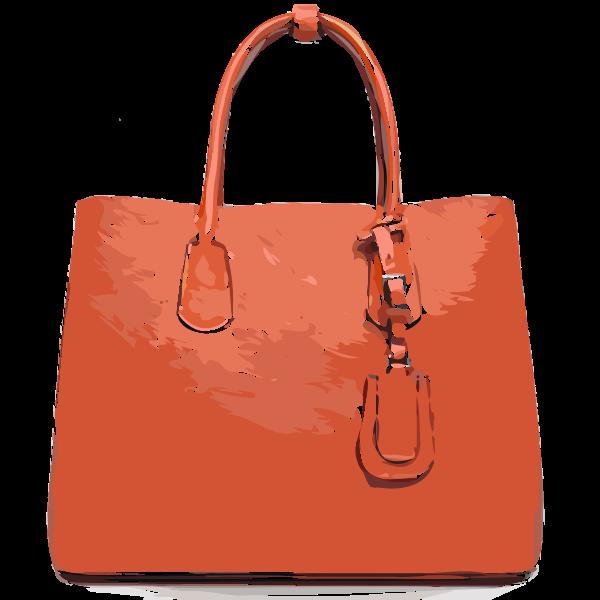 orange flat leather bag