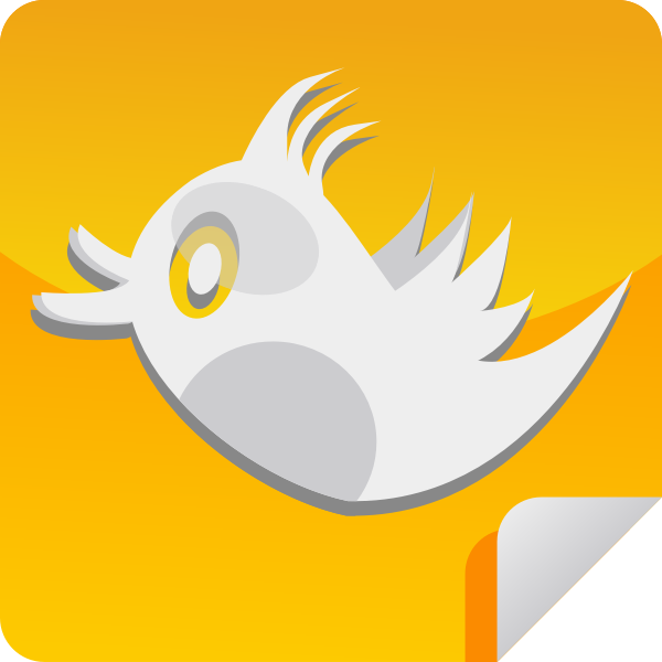 Orange bird icon vector clip art