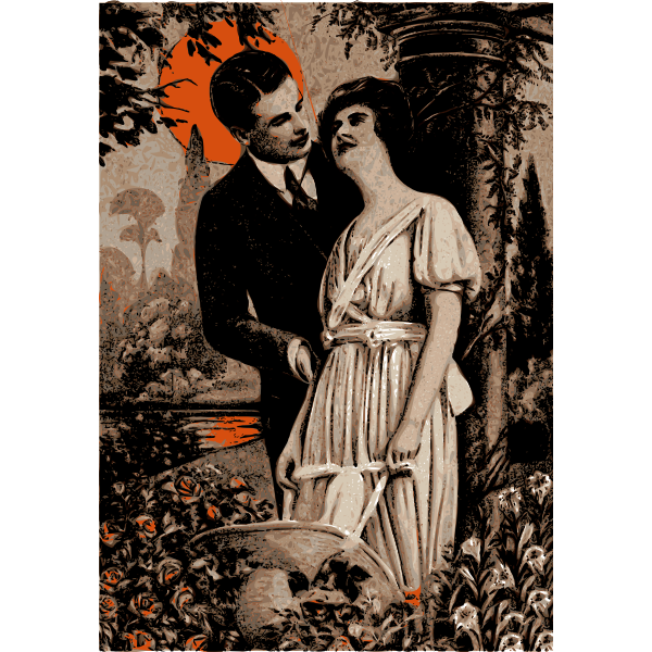 Vector image of man and woman under orange sun