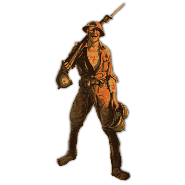 Vector image of soldier with rifle.