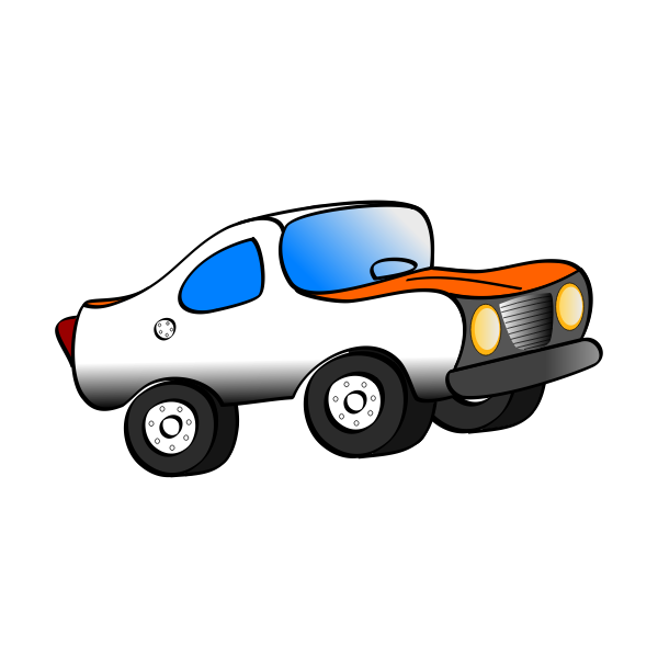 Vector drawing side view of orange car.