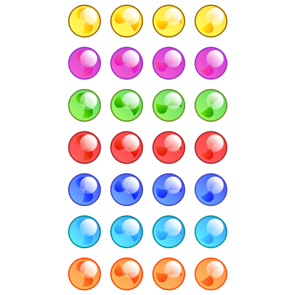 7x5 shiny colored marbles vector graphics