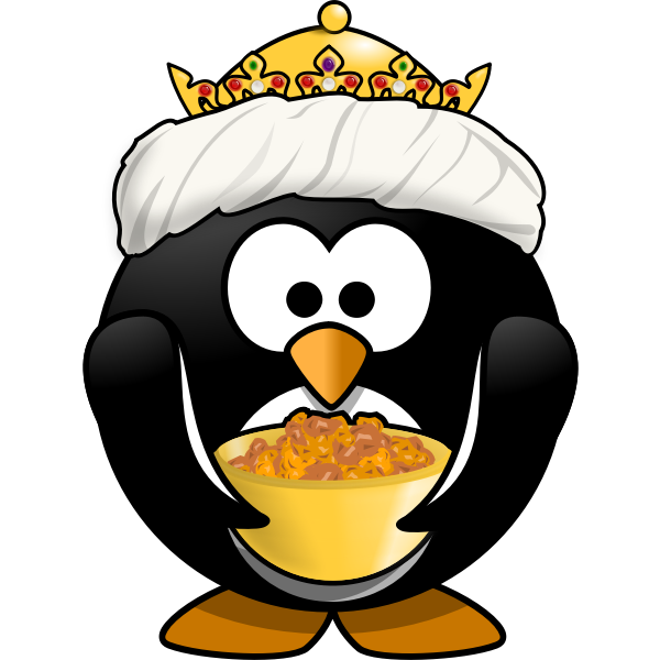 King tux with golden bowl