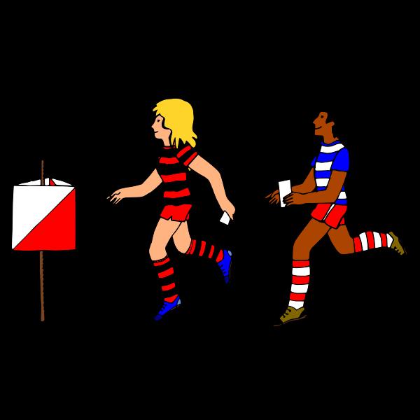 Boy and girl orienteering vector image
