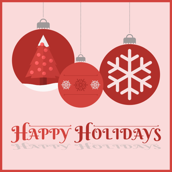 Happy holidays red themed card vector image