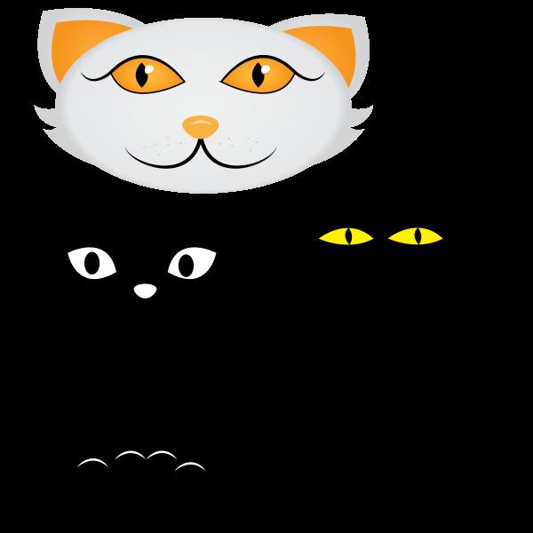 Four cat faces vector clip art