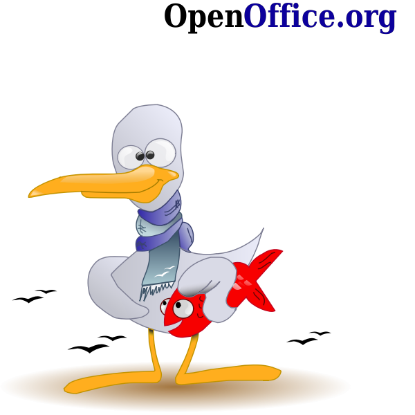Hairless duck with fish vector illustration