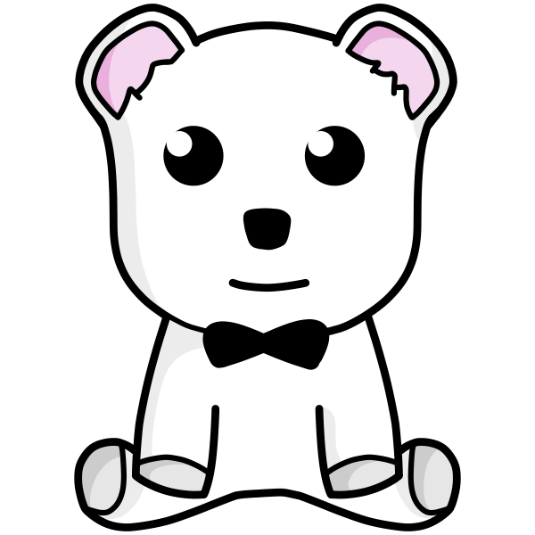 Vector drawing of small white teddy bear