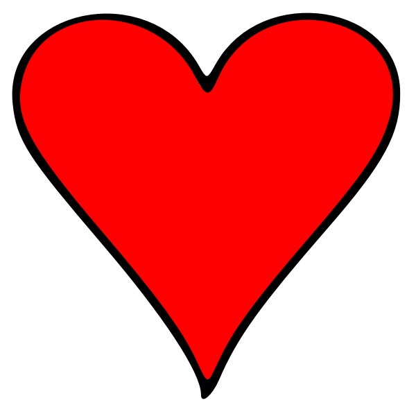 Vector drawing of outlined heart playing card symbol