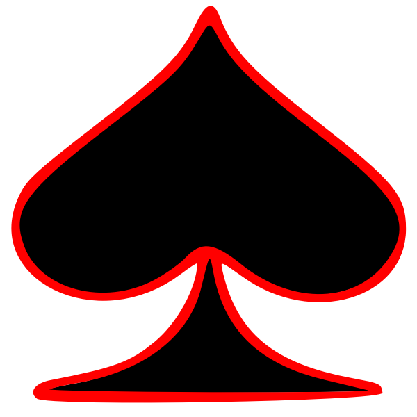 Vector graphics of outlined spade playing card symbol