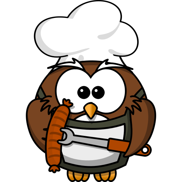 Owl with sausage