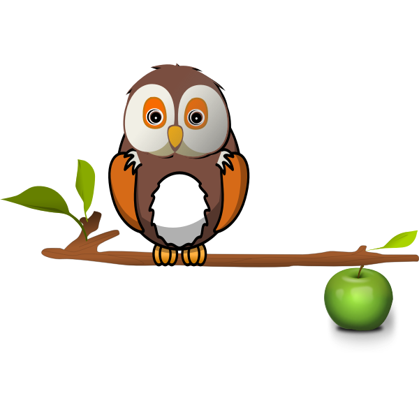 Owl on apple branch vector clip art