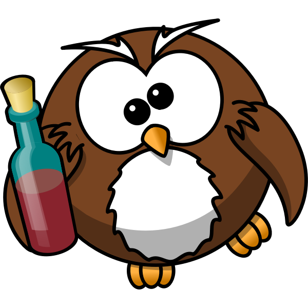 Drunk owl vector drawing