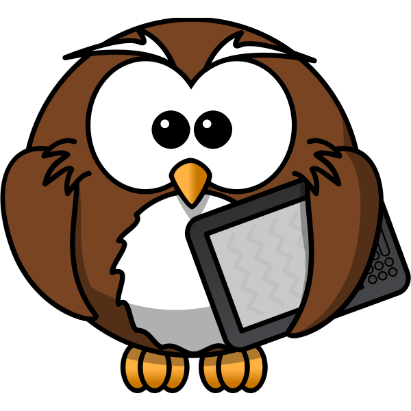 Owl with ebook reader vector image