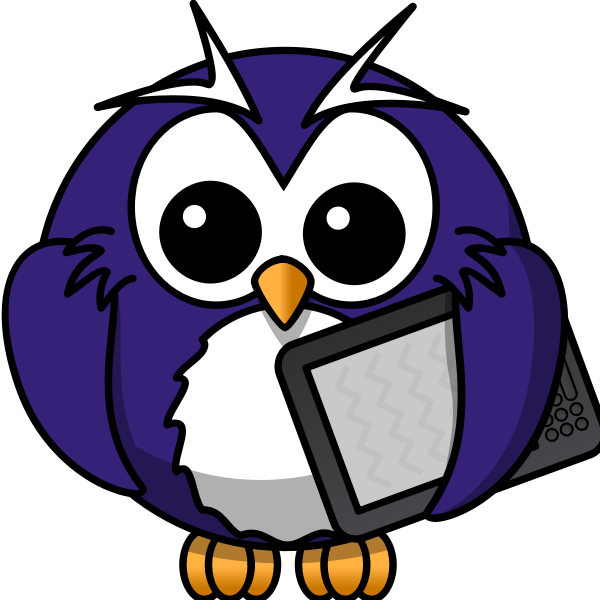 Cartoon owl with an electronic book reader