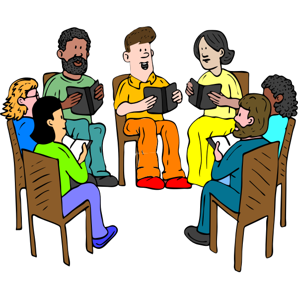 Vector drawing of people sitting and reading a book