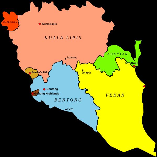 Map of Pahang, Malaysia