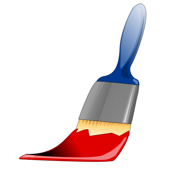 Paint brush with red paint vector illustration
