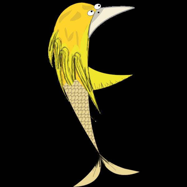 Vector graphics of bird siren comic character