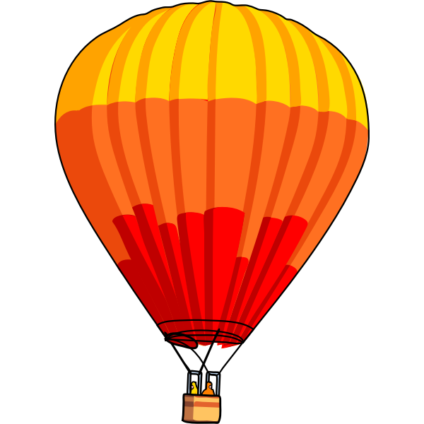 Vector graphics of red and orange air balloon
