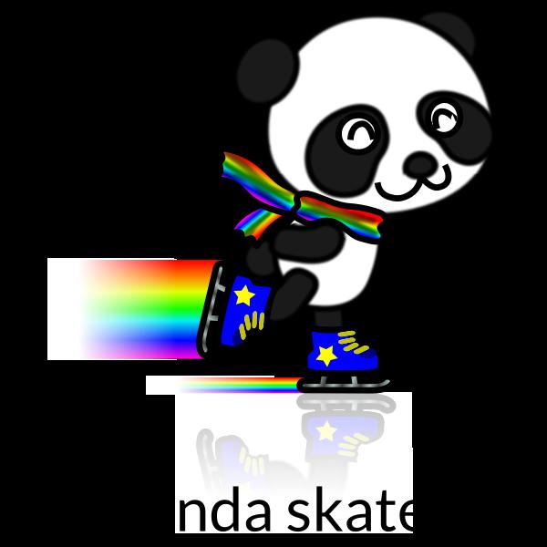 Vector image of rainbow trailpanda skate