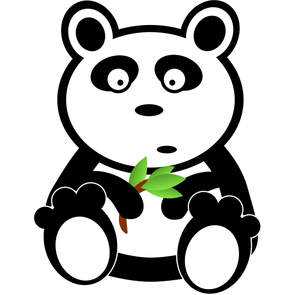 Panda with bamboo leaves vector image