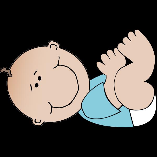 Vector drawing of lying cartoon baby boy